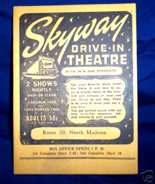 (Image from  drive-ins.com ) Some of the lyrics in the poem came from this ad for Skyway.