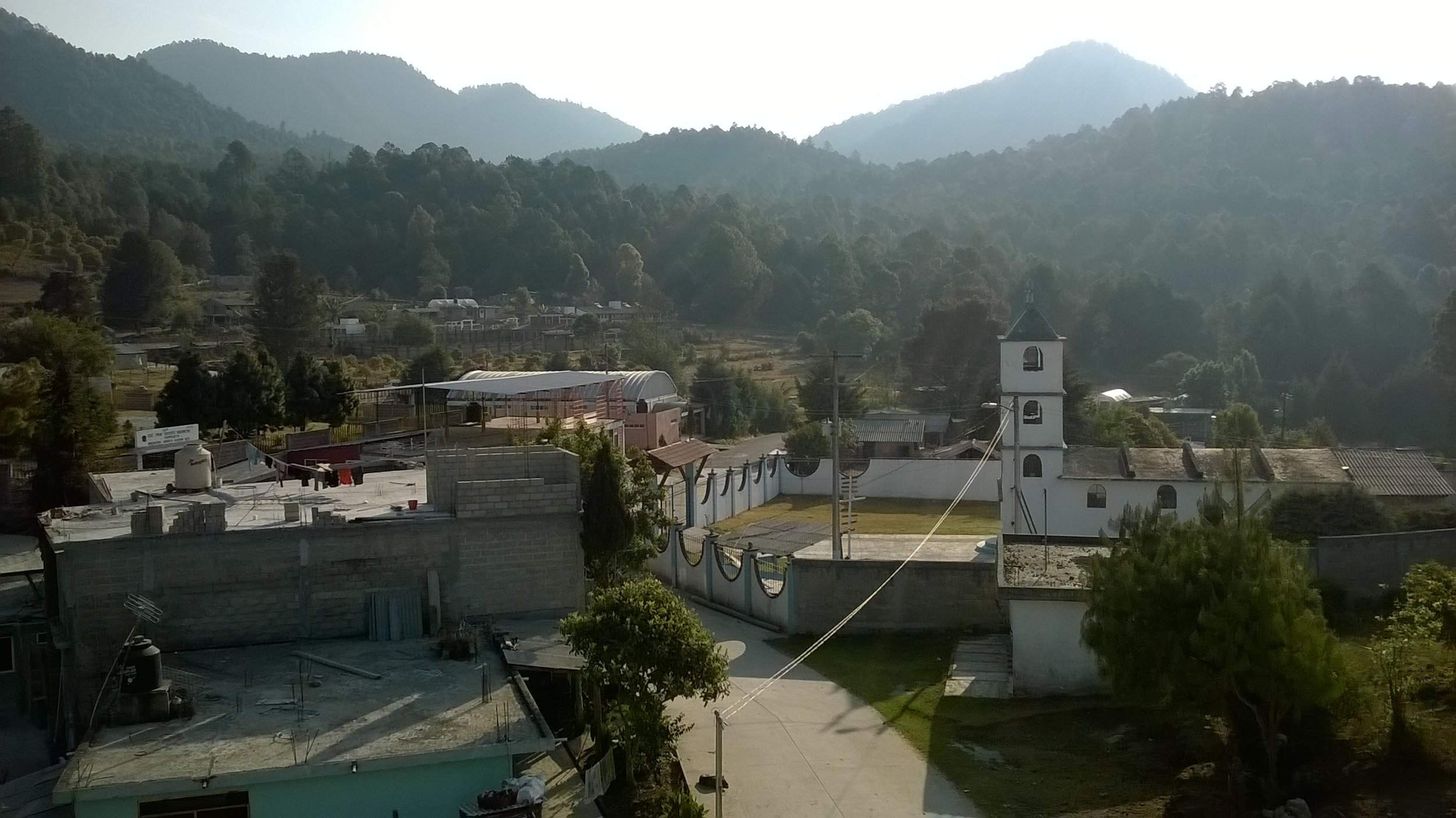View of Macheros from the roof of the inn in 2018.