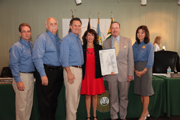 From left to right: Councilman Ricky Templet, Councilman Paul Johnston, Parish President John Young, Executive Director Rachel Piercey, TPBP Board Member Robert Kutcher of Metairie-based,  Chopin, Wagner, Richard & Kutcher LLC  and Councilwoman Cynthia Lee Sheng.