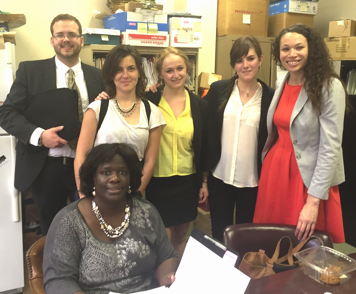 Left to right: Nathan Vos, Marie De Franca, Mathilde Declercq, Caroline Alet and Erin Lain - Assistant Dean for Academic Services. Seated: Zakiya LaGrange, Staff Paralegal, The Project