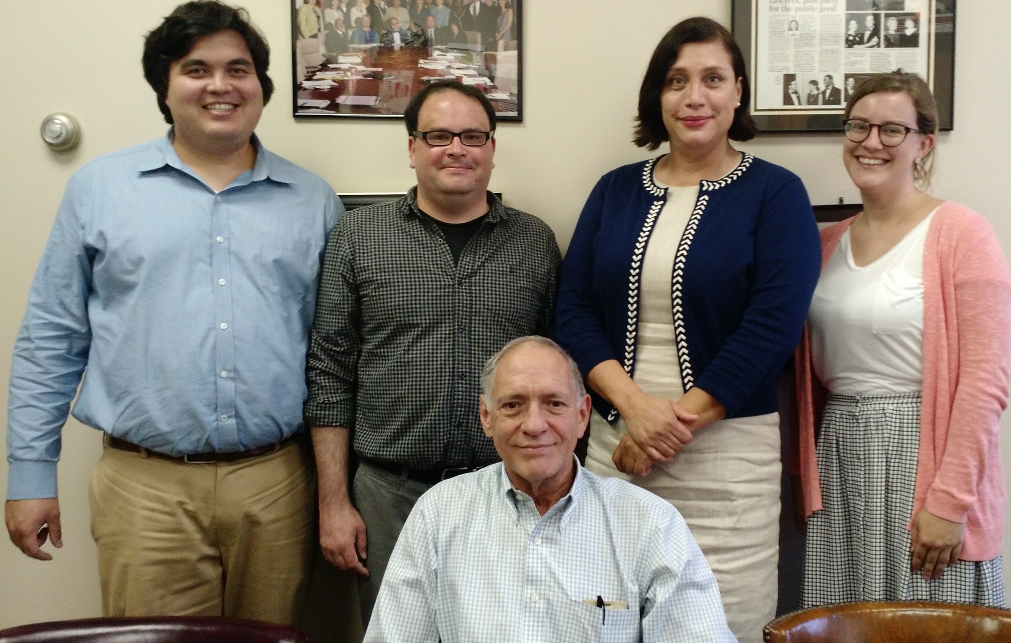 Summer Interns (l to r) Mike Kasper, Kirk Evans, Janie Boneta and Samantha Fox; seated Linton Carney. Not pictured: Christopher Freire