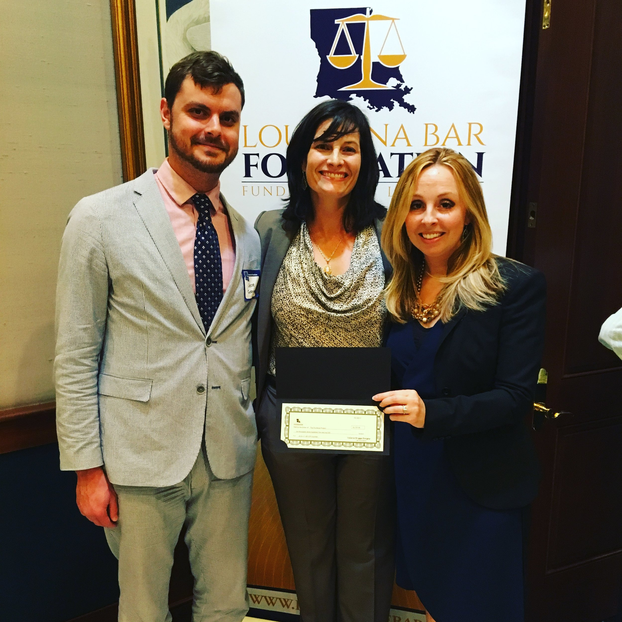 l to r: Jesse George, Managing Director for Direct Client Services, TBPB; LBF President Valerie Bargas; Jennifer Rizzo-Choi, Executive Director, TPBP