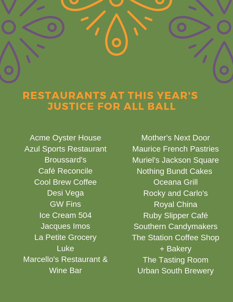 Restaurants at this year's Justice for All Ball.png