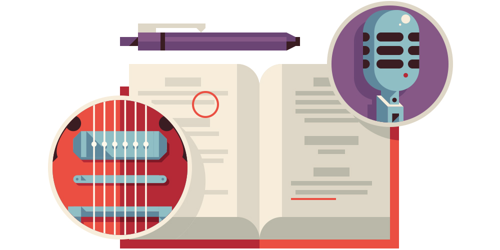 Spot illustration for Connie Britton's starring roll and creative writing processon the critically-acclaimed  Nashville.