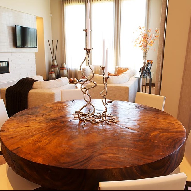 Copy of single slab round wood table