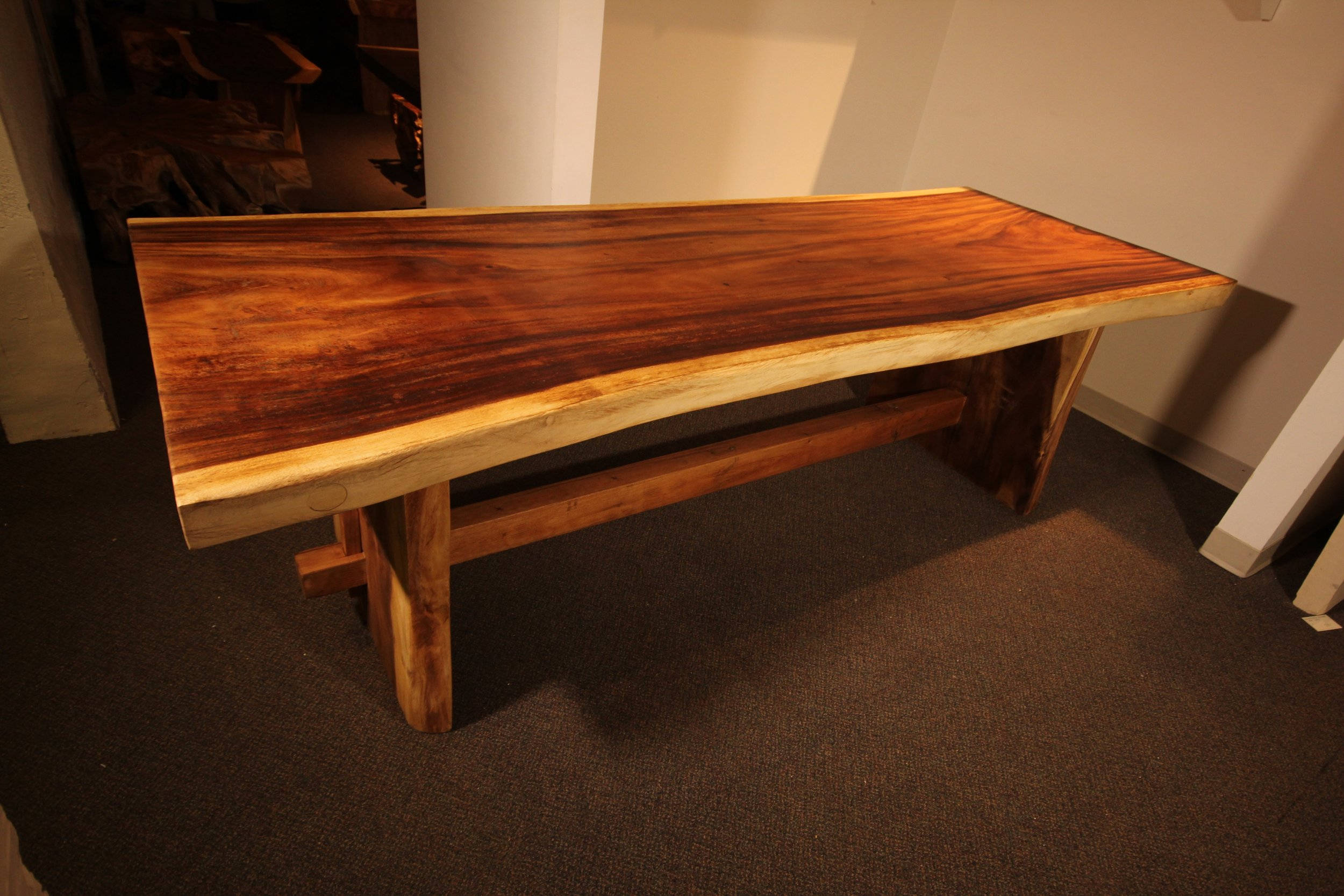 single slab live edge solid wood table, dining table, coffee table, desk, bench furniture store winnipeg