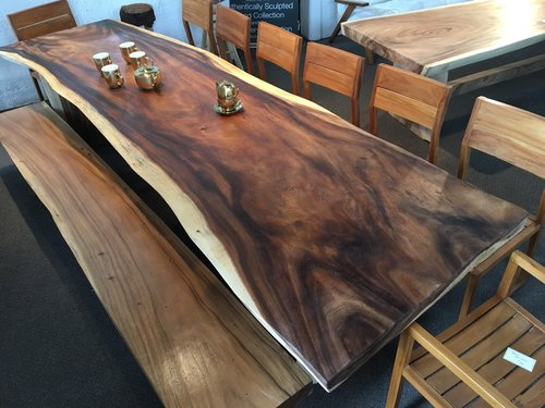 Copy of live edge dining table and live edge bench