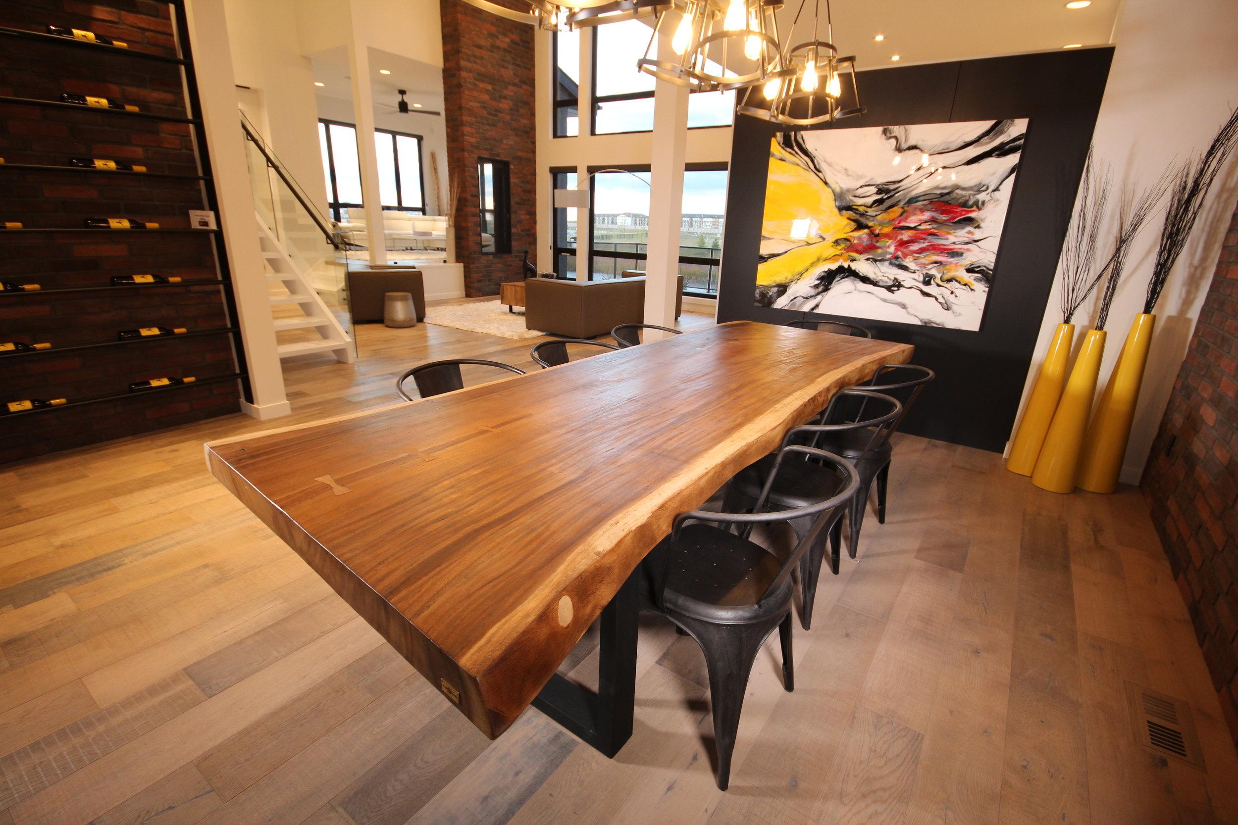 Majestic Live edge dining table, artista show home. Blue Moon Furniture. Luxury furniture winnipeg.JPG