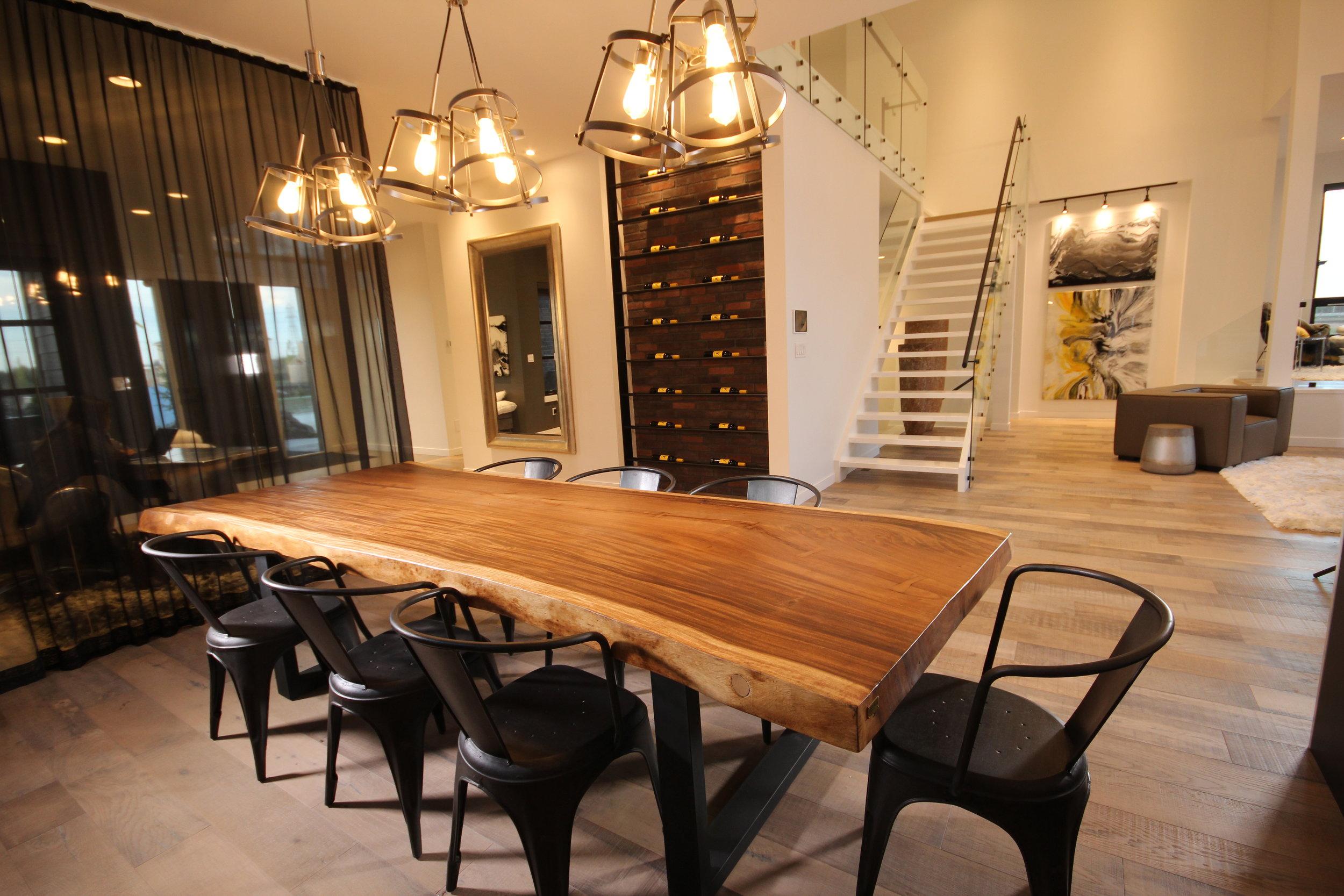 Majestic live edge dining, artista show home. Blue Moon Furniture. Luxury furniture winnipeg.JPG