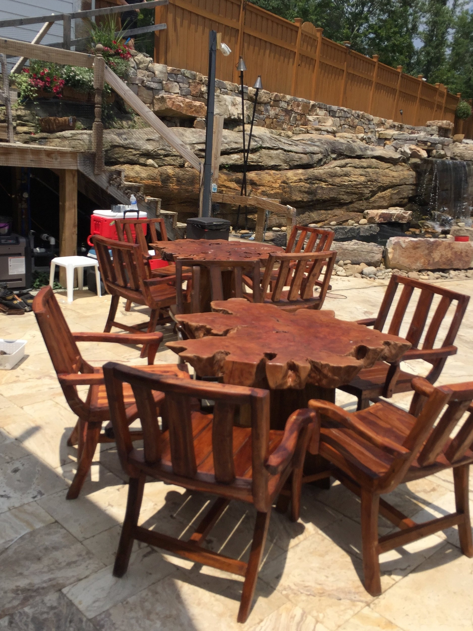 lychee wood slice outdoor dining tables