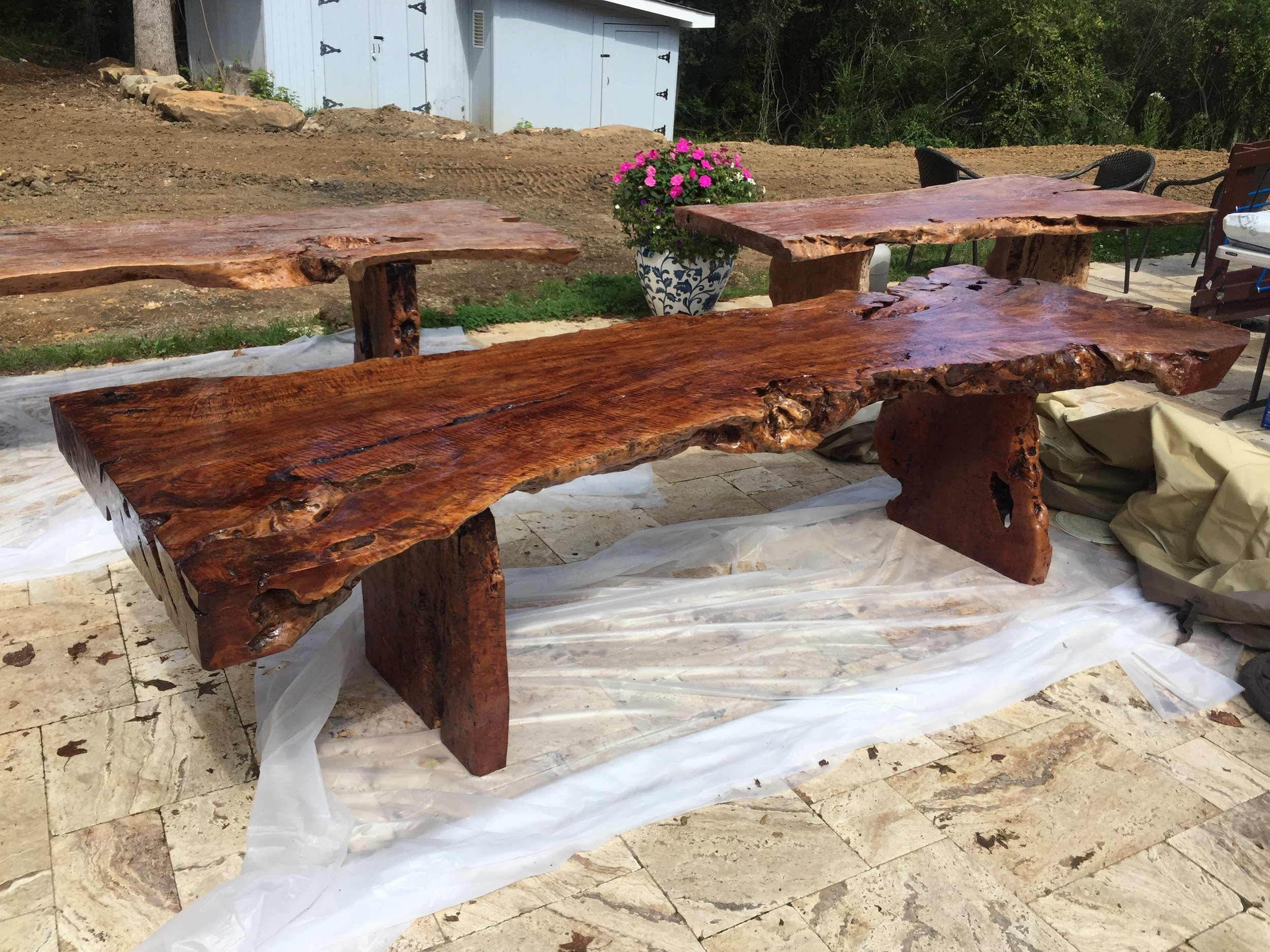 Beautiful exotic lychee wood dining table