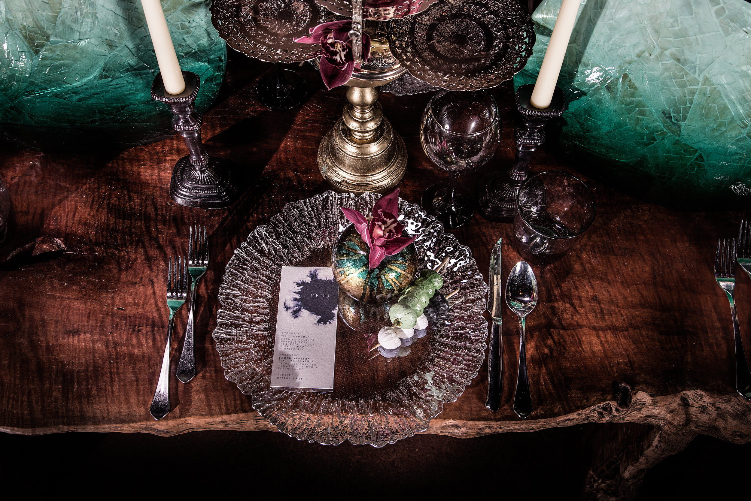 A beautiful shot of our Live Edge Lychee Wood dining table all decked out with wedding place settings. I am in love.