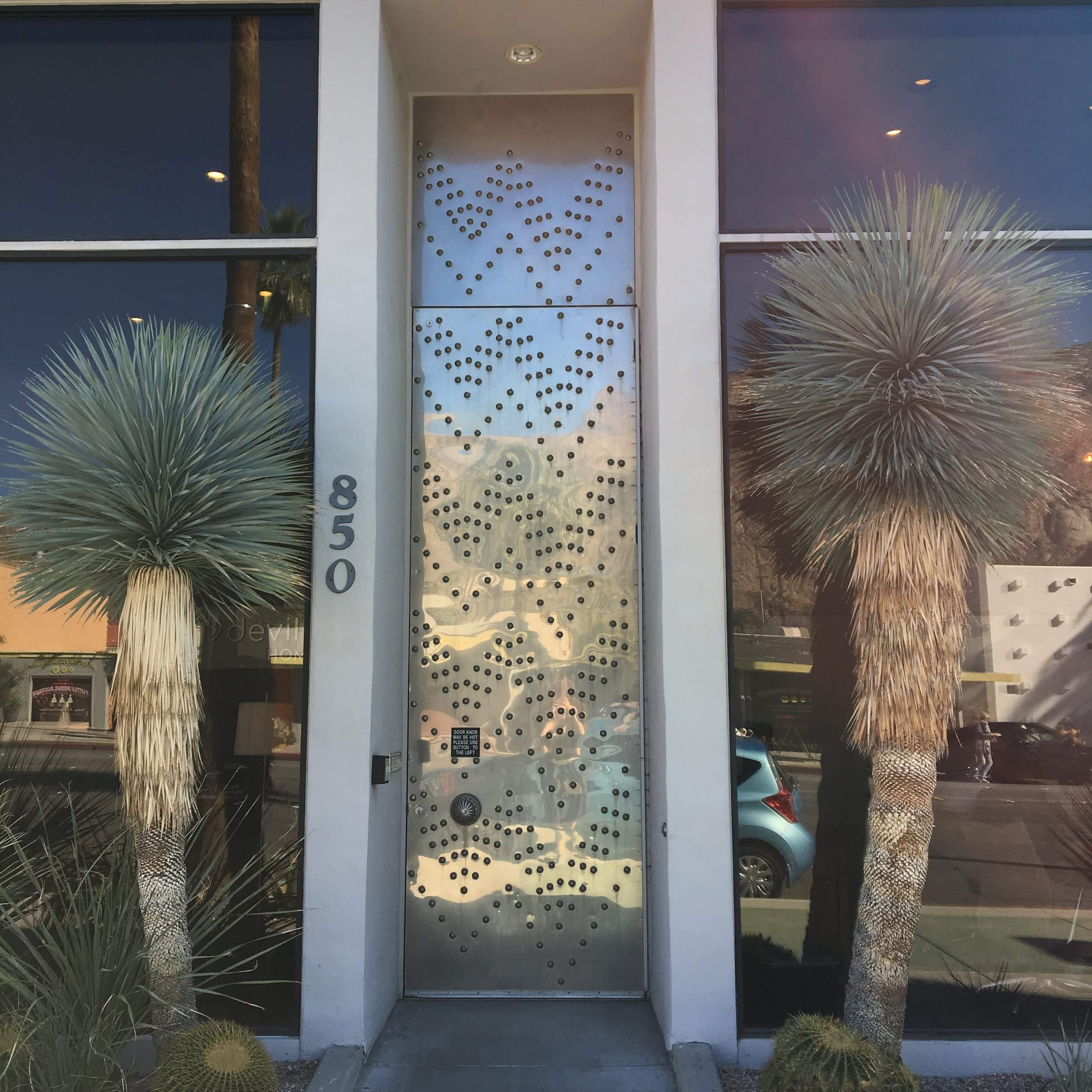 statement door. Architectural tour of palm springs. Blue Moon furniture store winnipeg.JPG