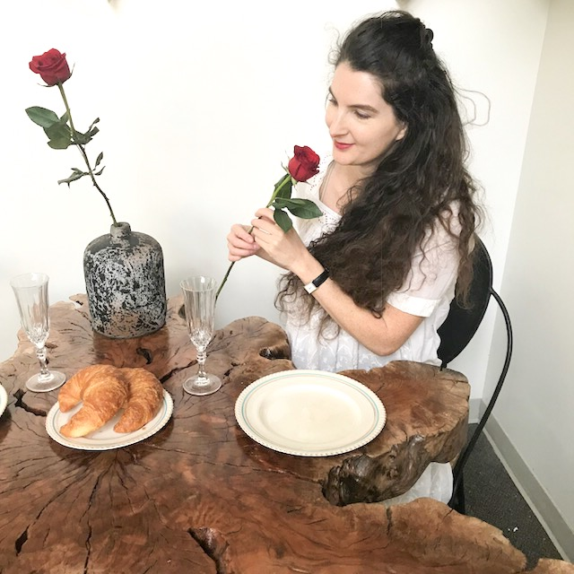 Valentine's Day breakfast and roses. Live edge lychee slice table. Blue Moon Furniture Store Winnipeg. Valentine's Day itinerary.JPG