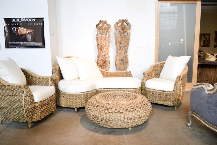 Copy of natural banana leaf guitar chaise, chair and ottoman set