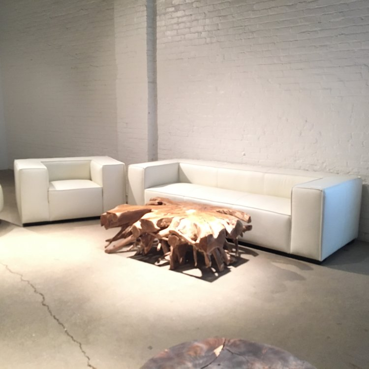 Copy of beau monde sofa and chair in white leather.