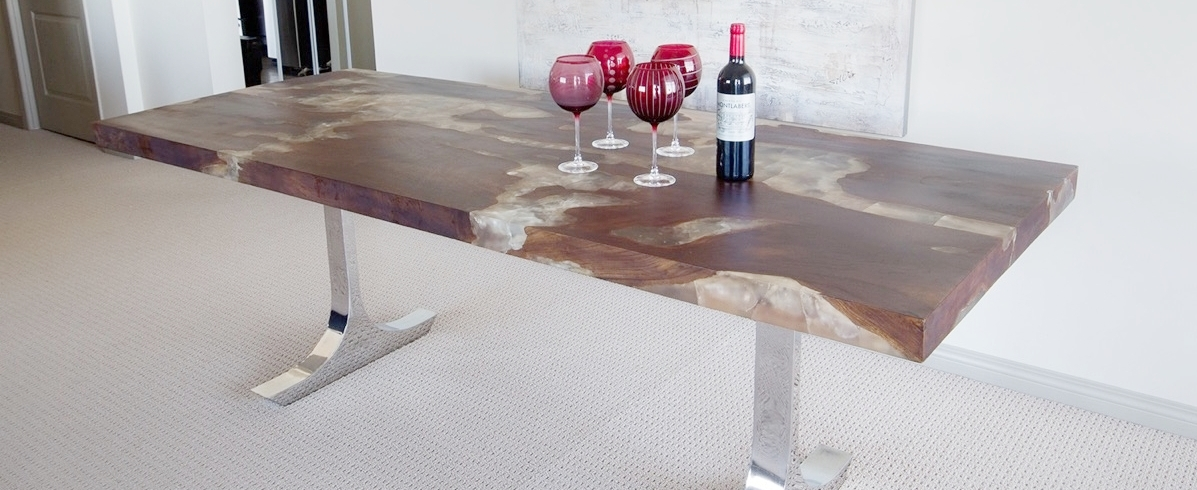 Copy of Teak Root and Resin Dining Table with Stainless Steel Base