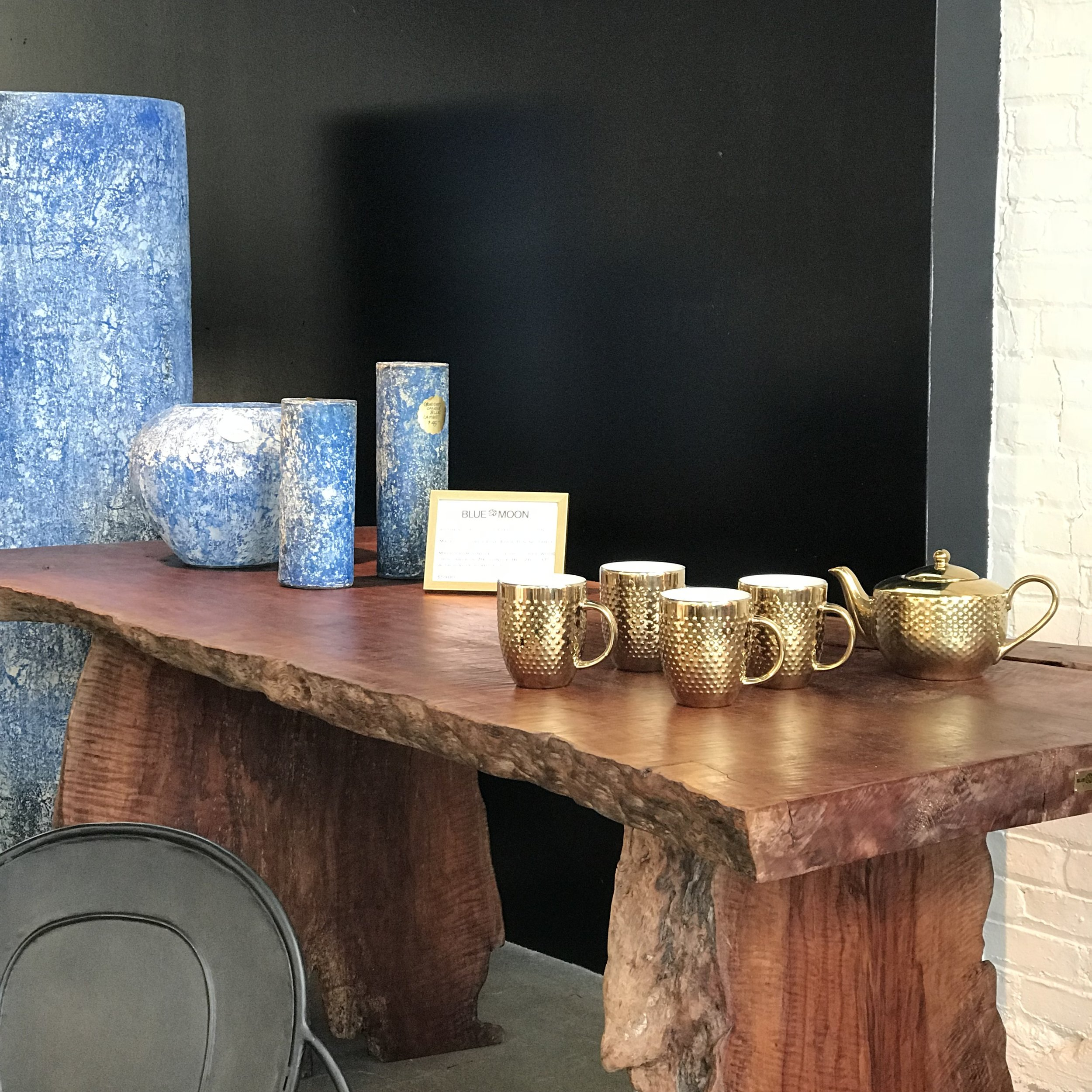 Blue Moon Furniture store in Winnipeg. Lychee wood dining Table. Live edge dining table. Wood table. .JPG