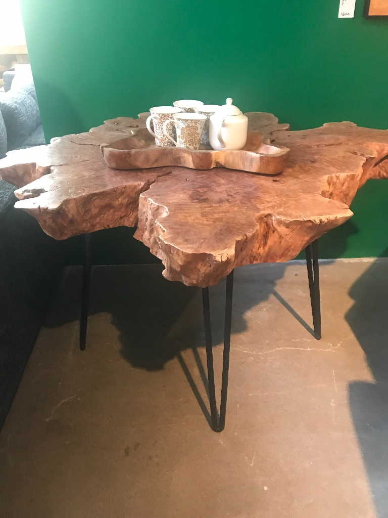 blue Moon furniture store in winnipeg canada. lychee wood dining table with hairpin iron legs. Live edge table.jpeg