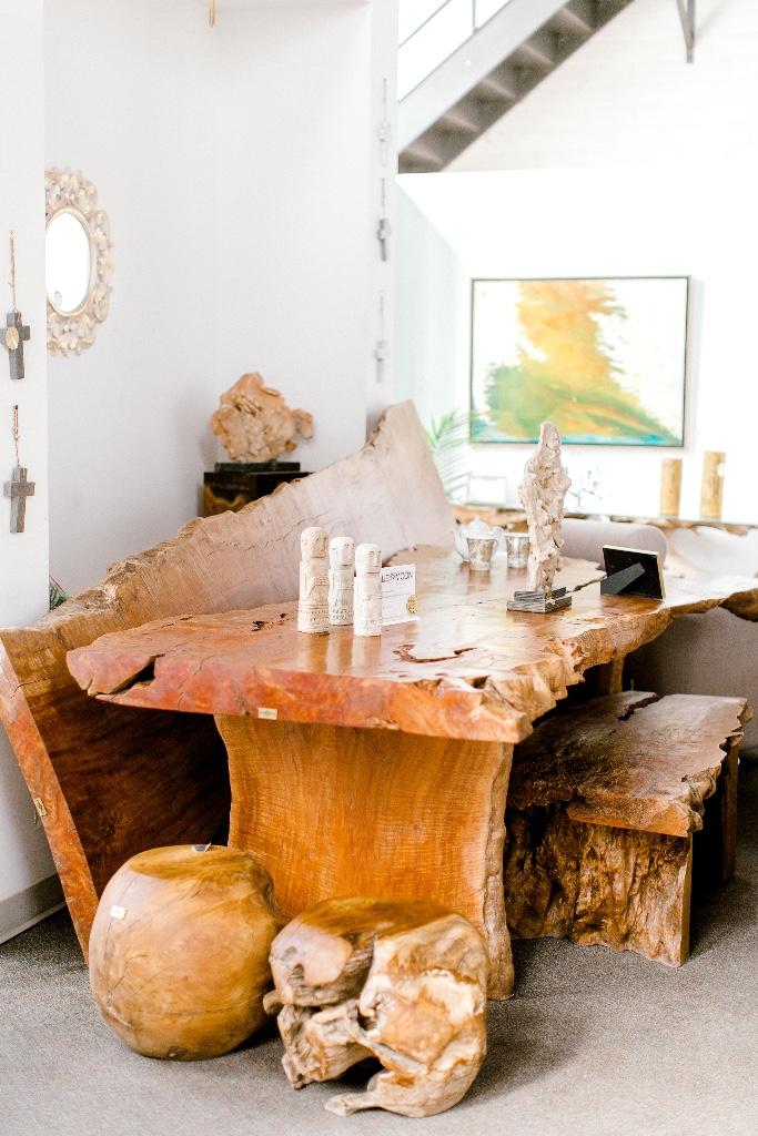 blue moon furniture store in winnipeg Manitoba canada. Lychee wood live edge wood dining table.jpg