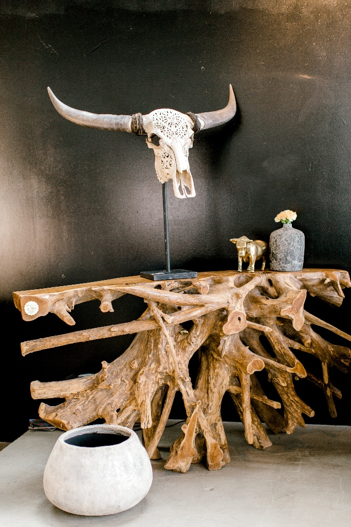 winnipeg parade of homes. teak root console table. Teak root furniture. carved bull skull.jpg