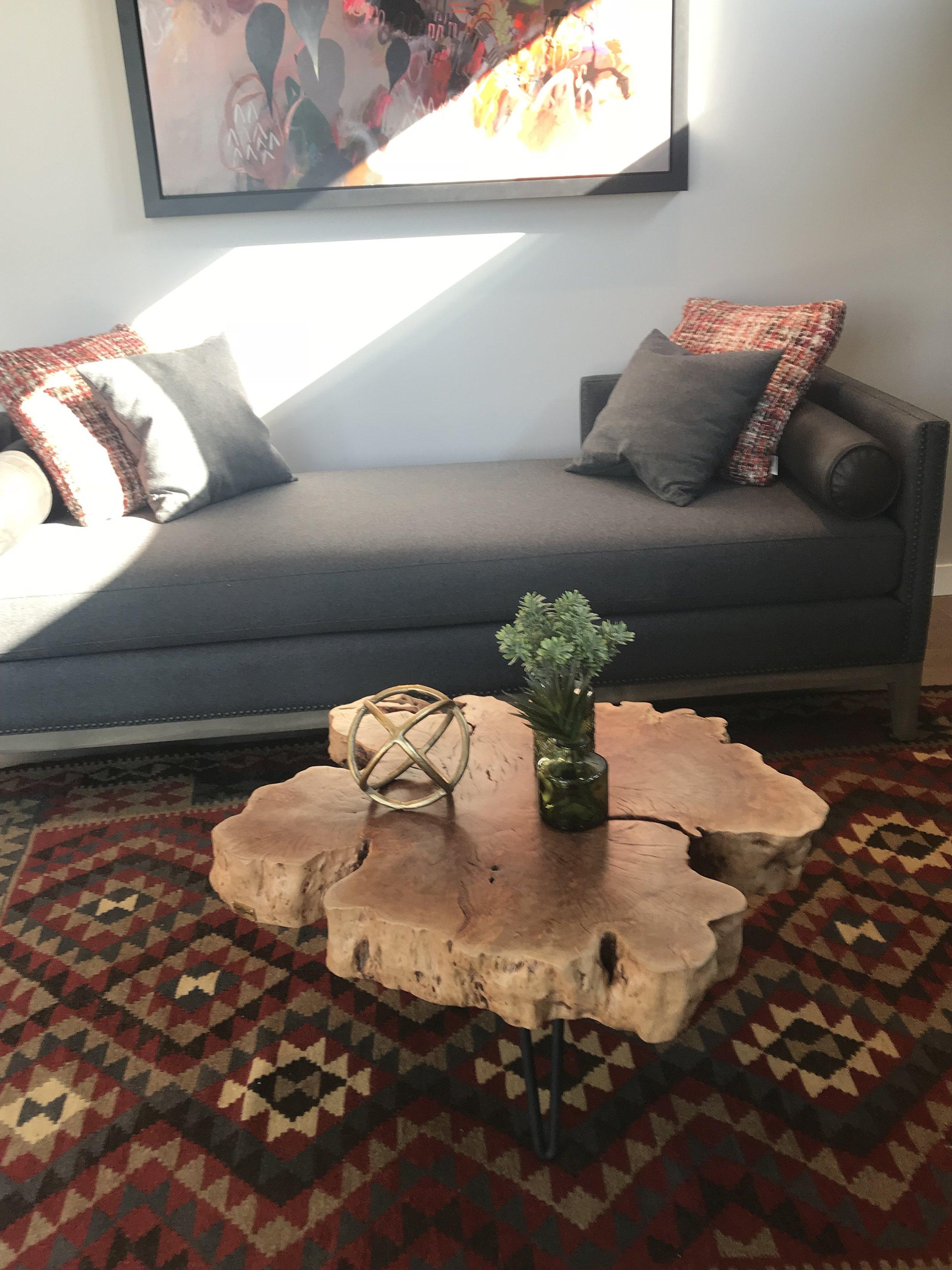 Huntington homes show home furniture. Blue Moon Furniture.  lychee wood coffee table.JPG