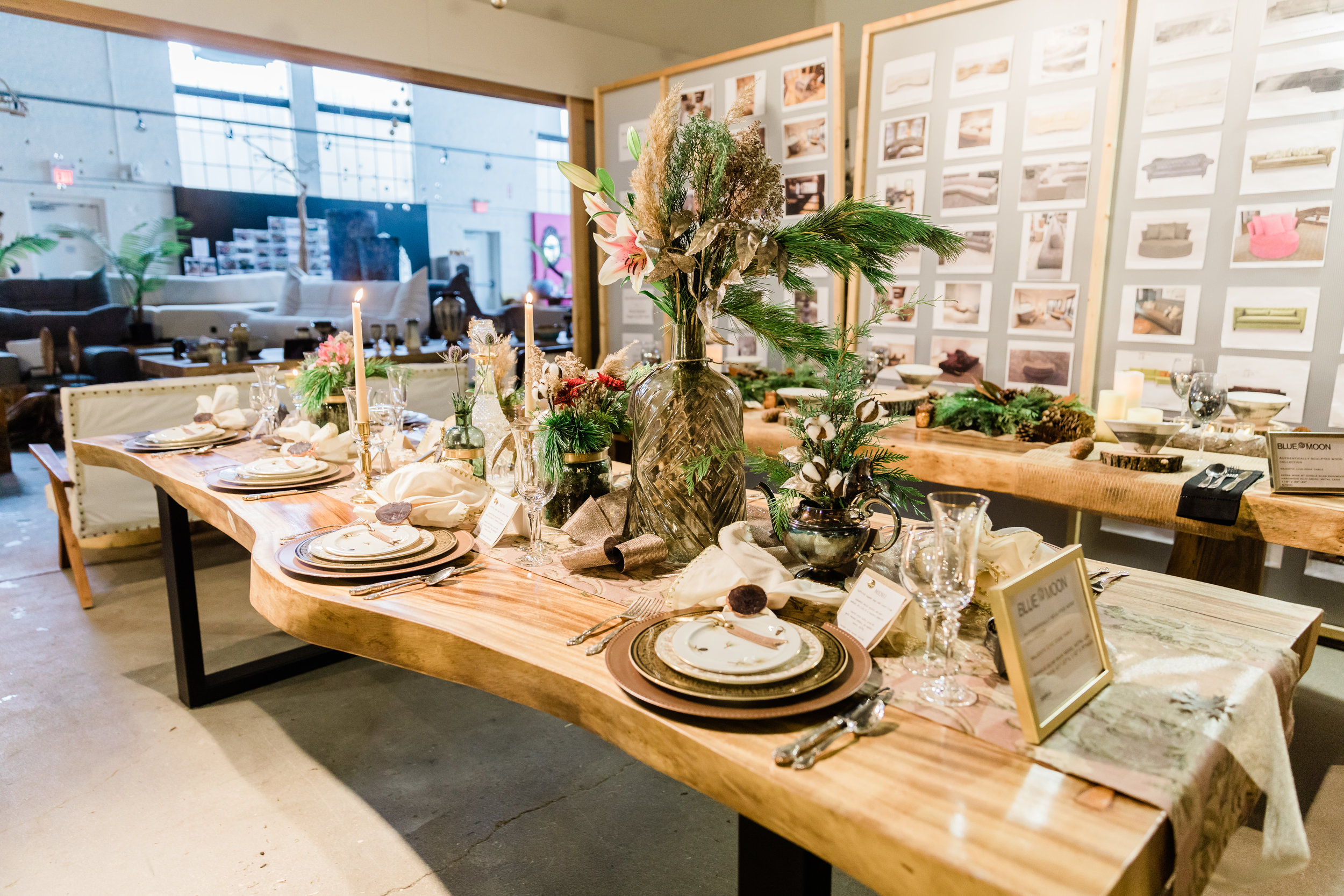 vintage inspired place settings at a live edge dining table. 2018-11-29_BlueMoonFurnitureTableStories168.jpg