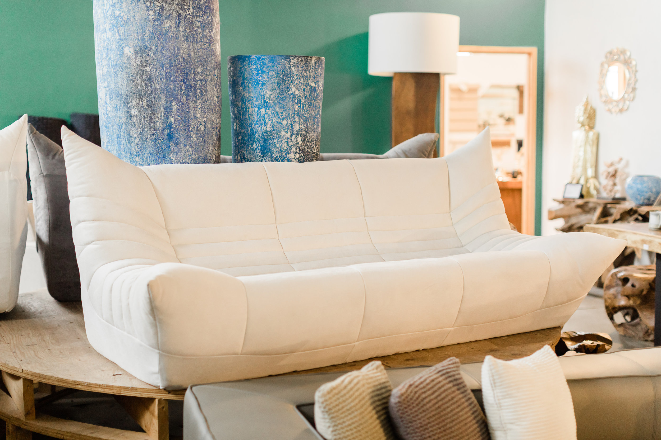 Copy of Wolseley Sofa in White fabric. Blue Moon Furniture