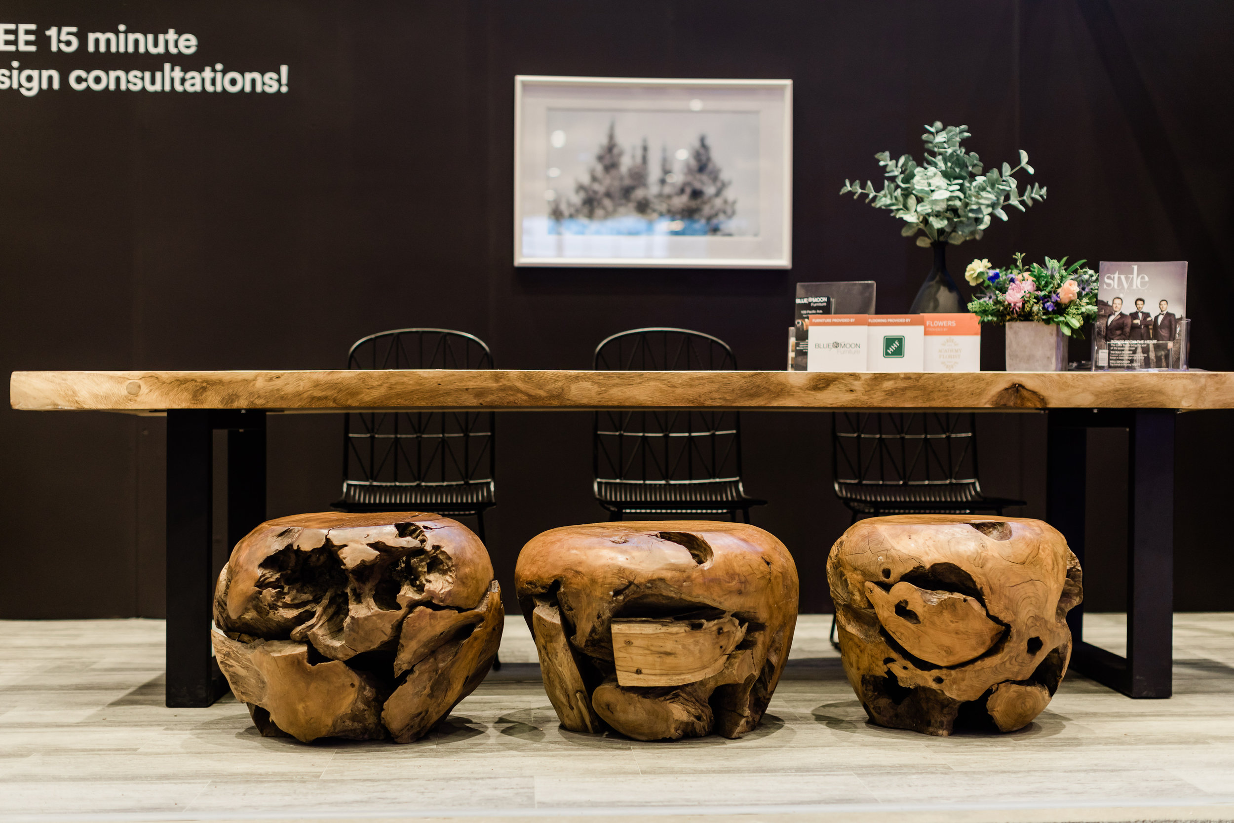 Winnipeg renovation show. Blue Moon Furniture. The Design Studio. teak root balls, wire chairs, majestic live edge furniture.