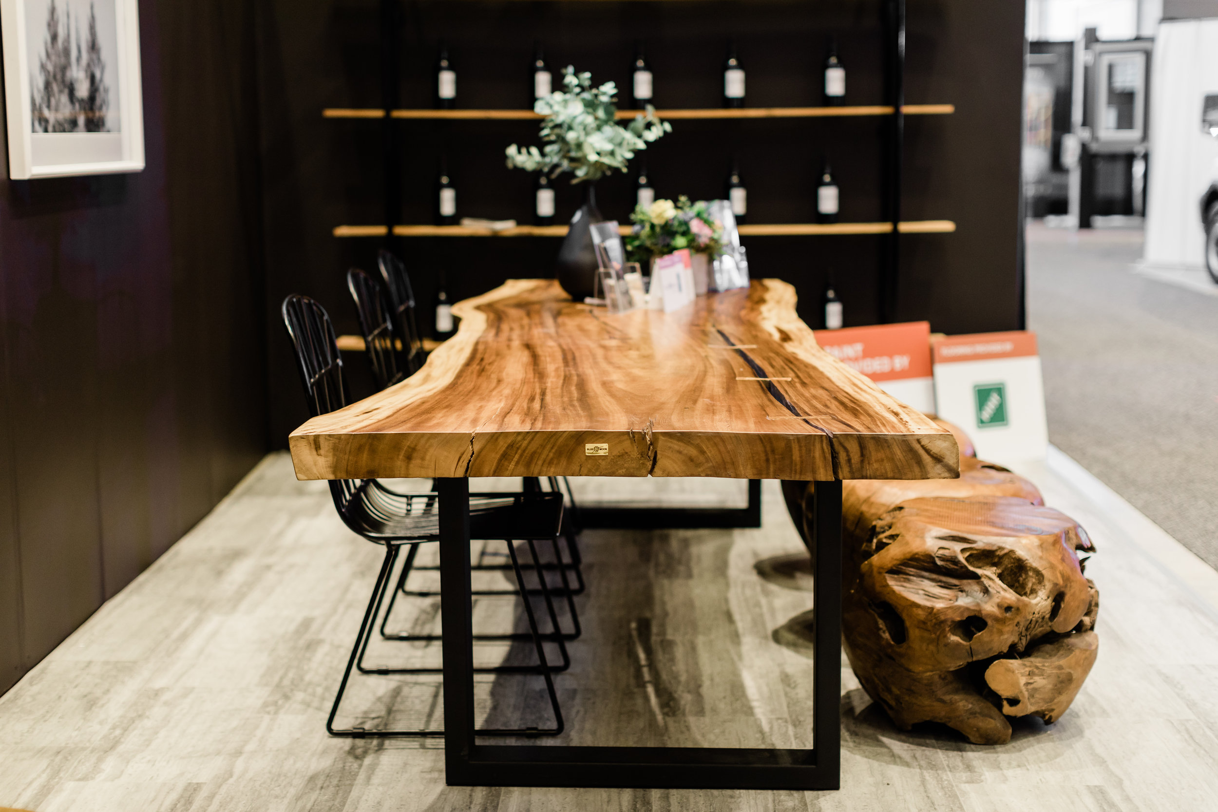 Copy of Majestic Live Edge Dining Table with metal legs. Blue Moon Furniture store in Winnipeg.