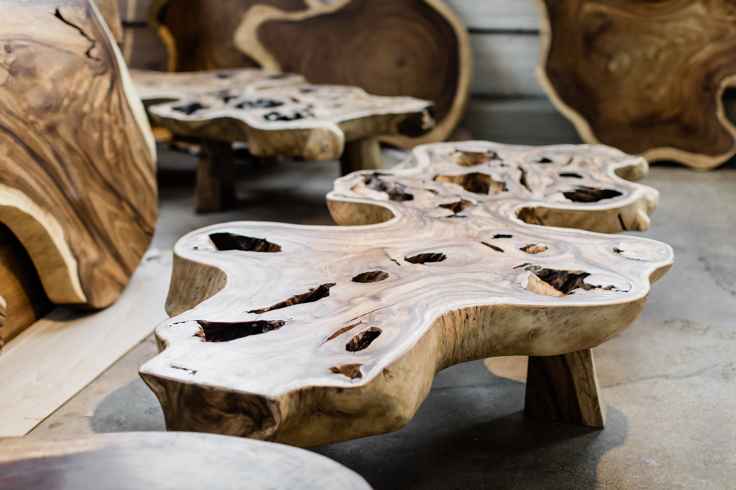 Copy of Majestic Coffee table. Single slab wood coffee table.