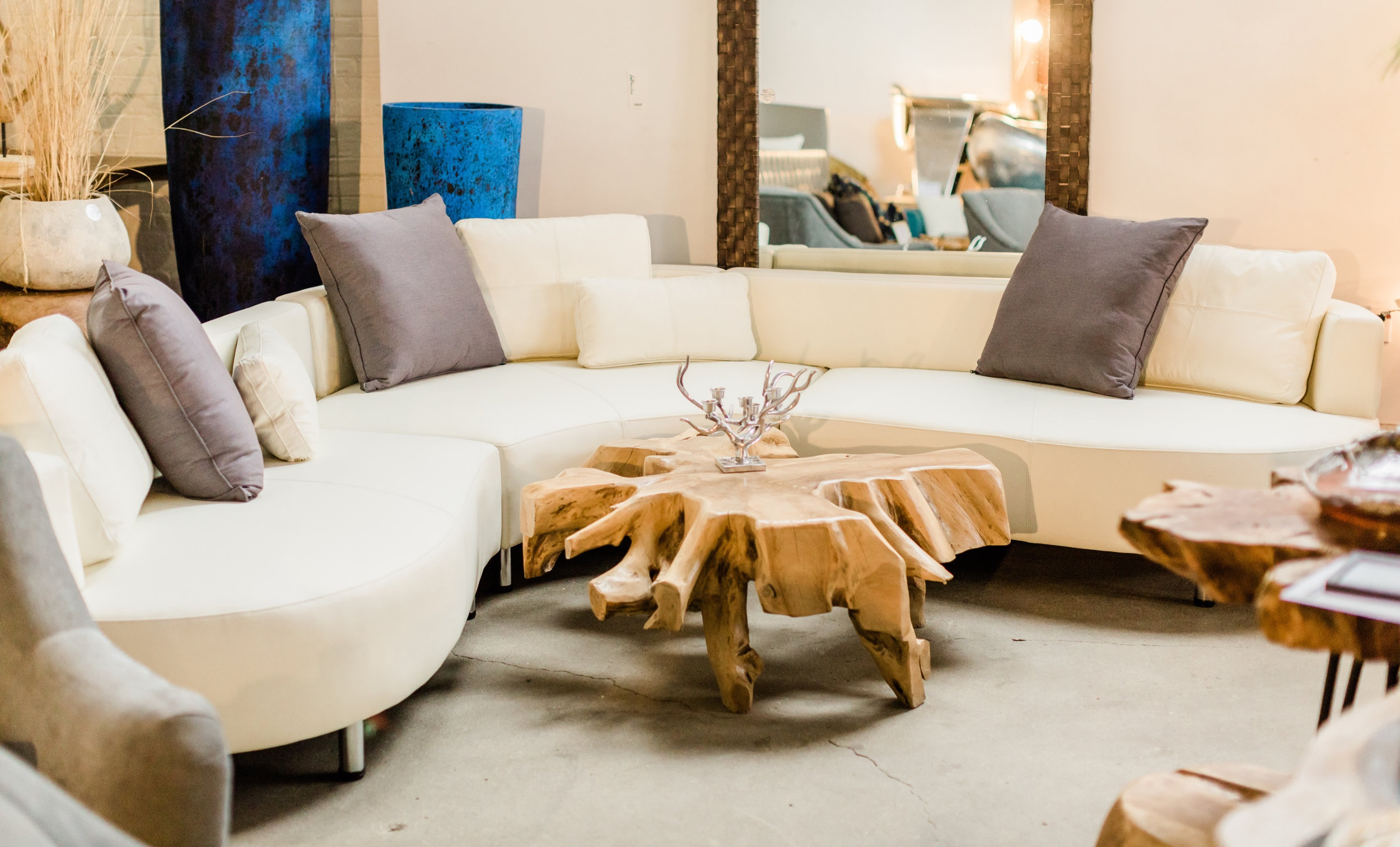 Copy of cocoon 2 sectional. Curvy, luxurious, modern designer furniture. Blue Moon Furniture store in Winnipeg.