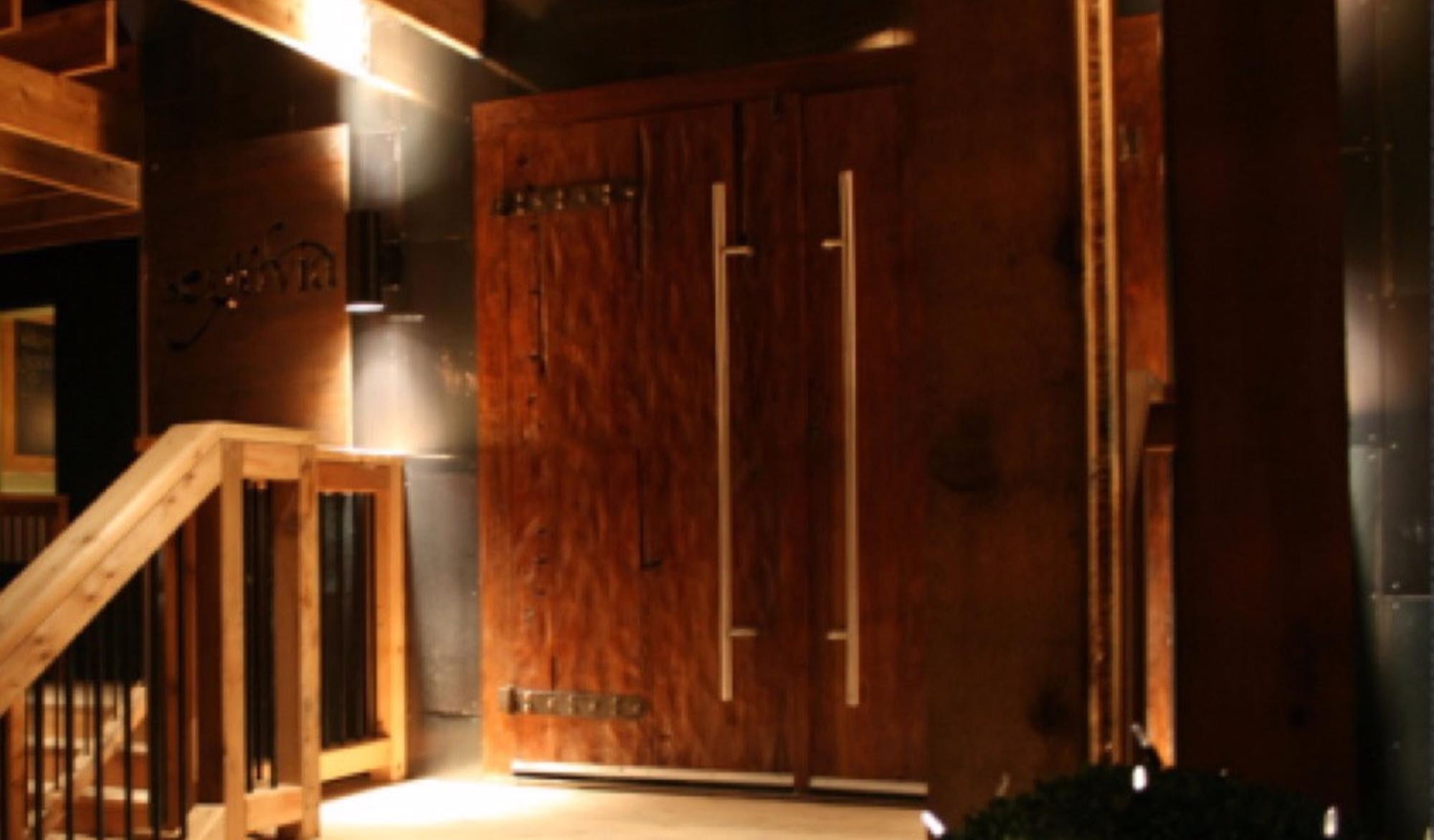 Copy of Entrance Doors Hand Hammered Teak Segovia Restaurant
