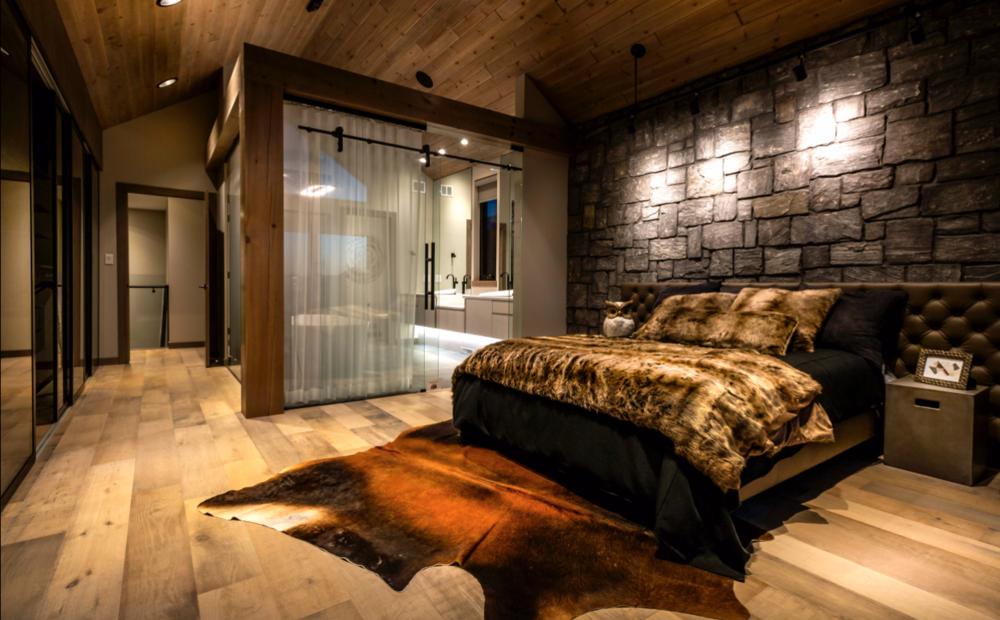 blue moon furniture MCM bed. King size, leather. Artista Homes Winnipeg