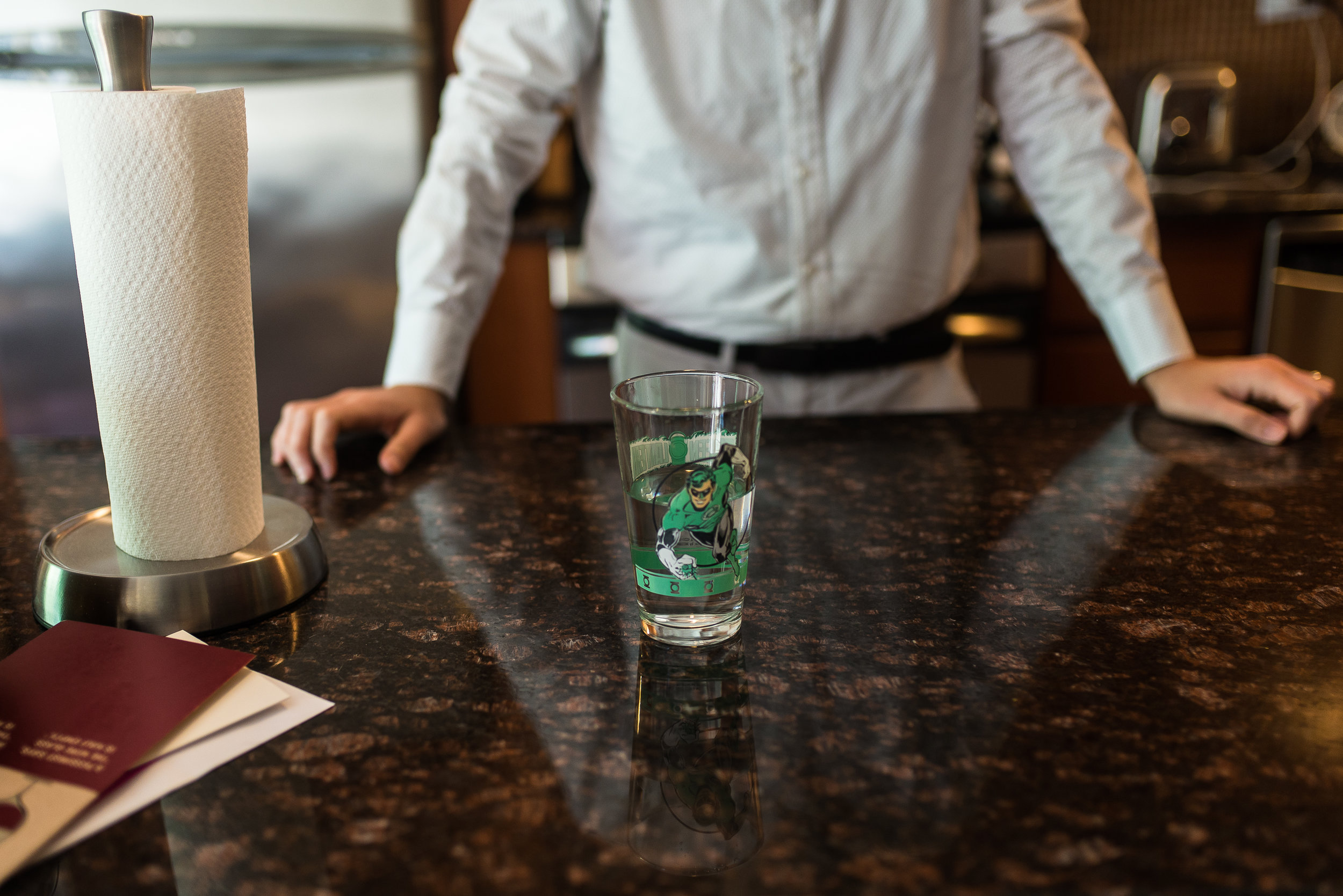 Mr. Gustines serves me water in a Green Lantern glass. Upper West Side.
