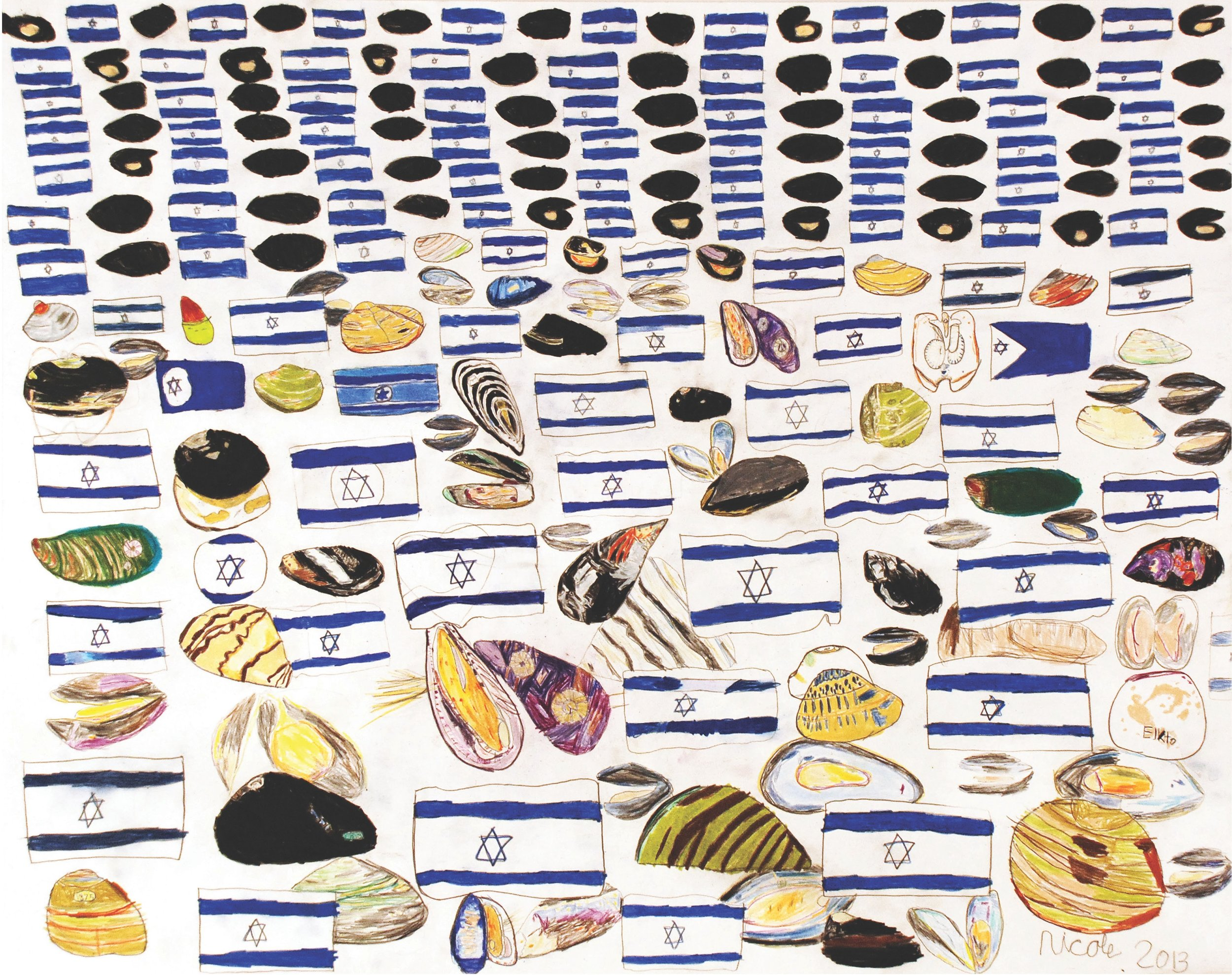 Israeli Flags and Mussels    2013   Pencil on Paper   19x24