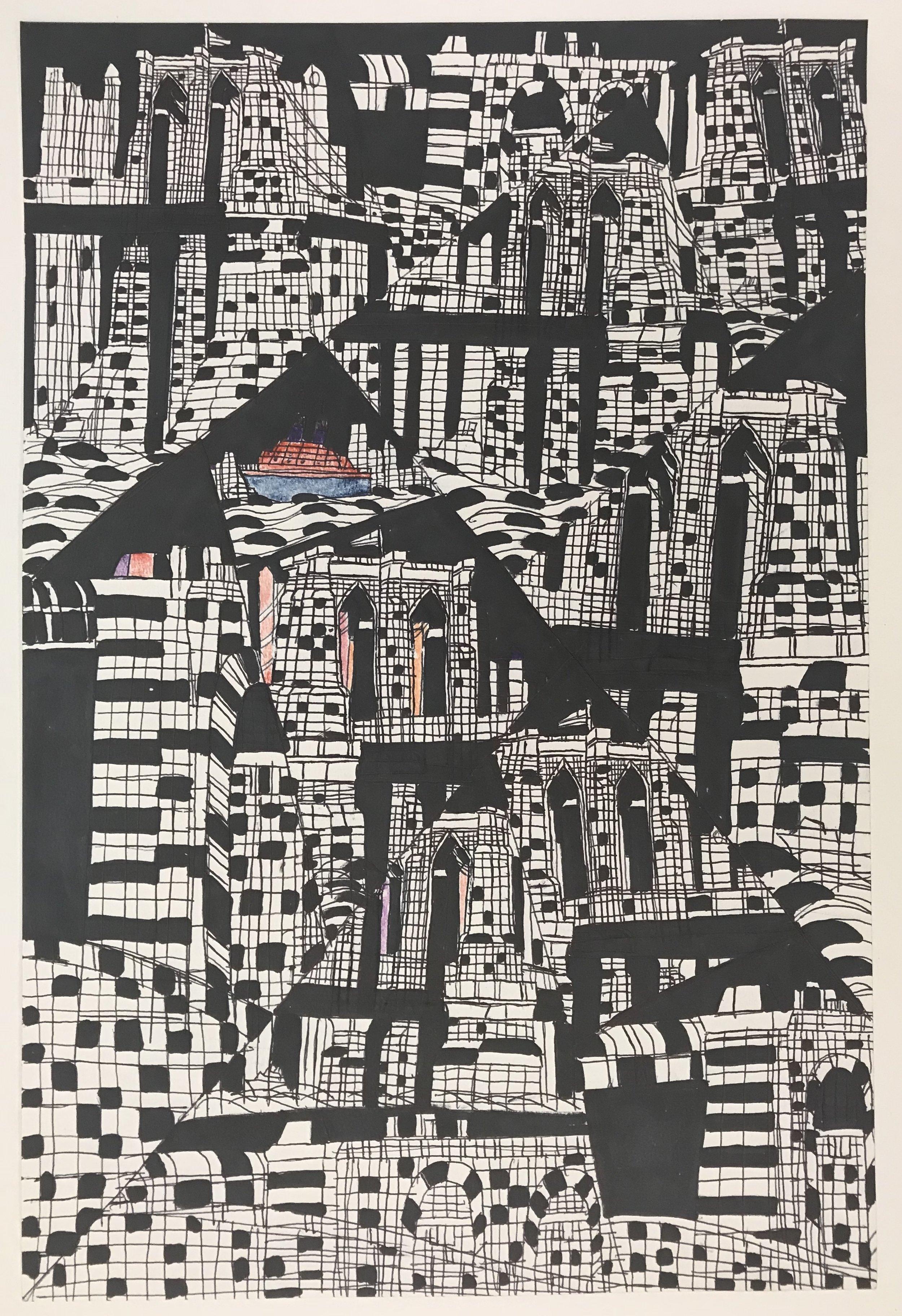 RL017_Robert_Latchman__Black_and_White_Bricks__2018__Mixed_media_on_paper__18.25_x12_.jpg