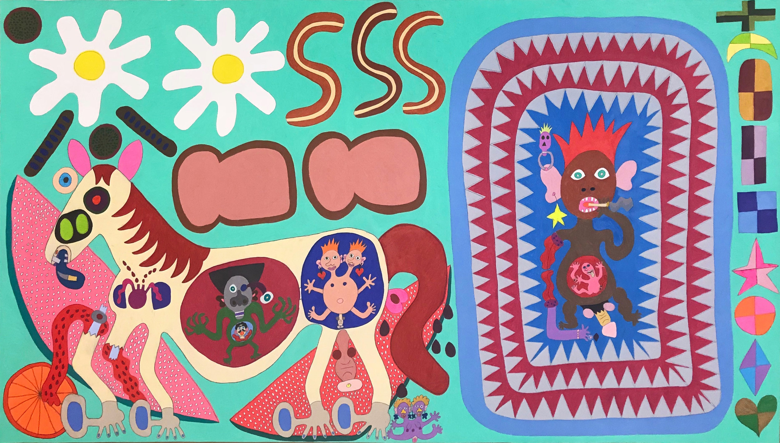 """Raquel Albarran,  Breakfast Meal with Smoking Baby Inside the Shark Mouth and Big Giant Horse with Toe Babies Inside the Placenta and One Baby Got Pooped Out, Horse Leg Got Broken in Half  (2018) Pencil on paper, 36x68"""""""