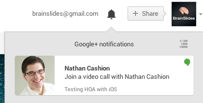 As a member of the Google Community, you'll receive a notification like this once the Hangout is about to begin.
