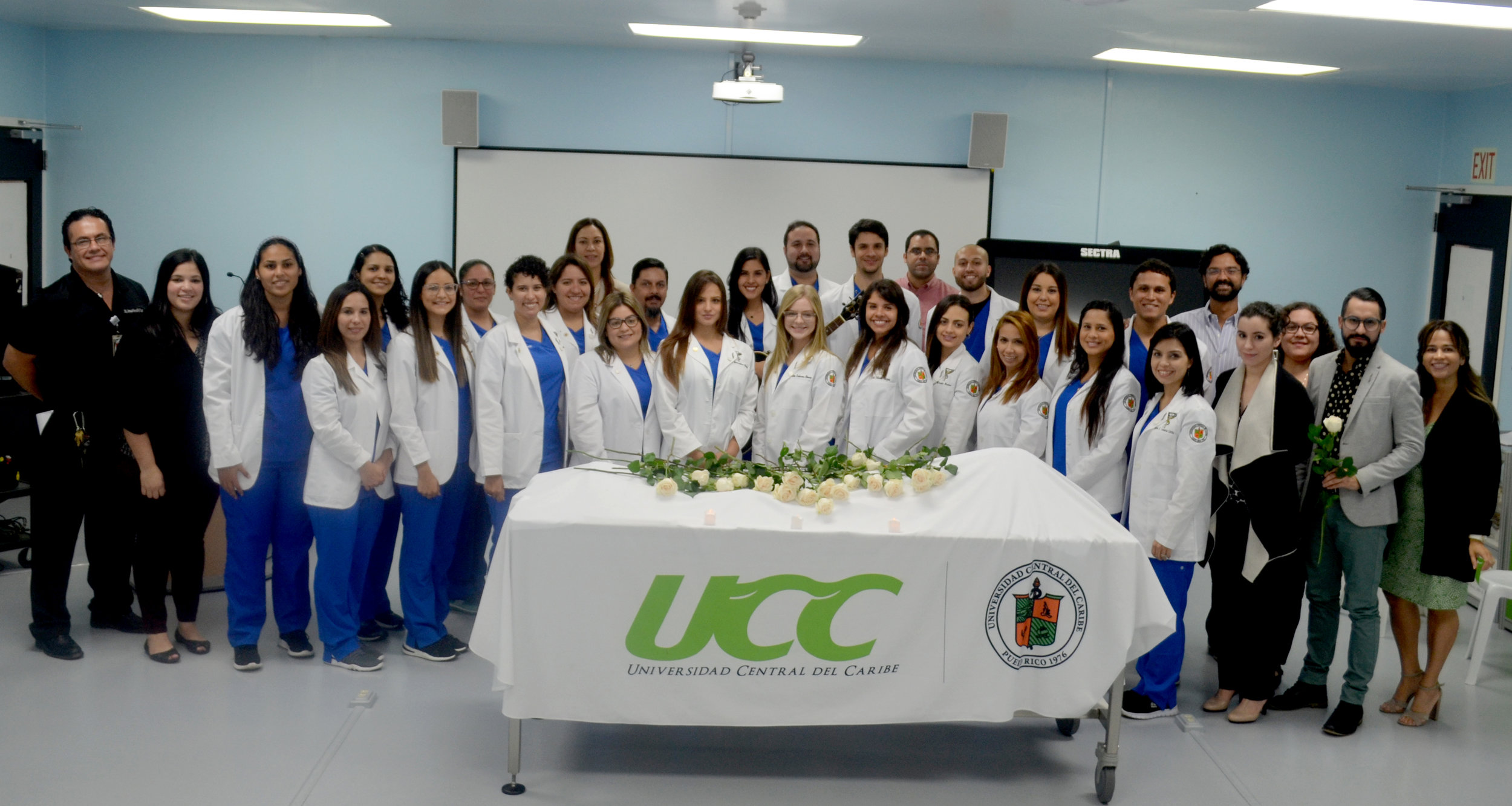 The first class of chiropractic at Universidad Central del Caribe