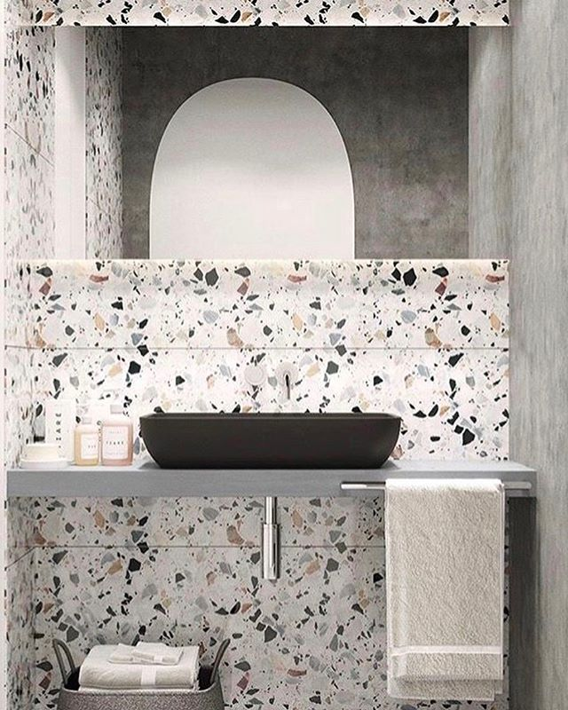 Trend Alert!! They say everything comes back in style. These terrazzo countertops  are a fresh application for an iconic material. We are really loving it!  ________________________________________#trend #steelestreetstudios #terrazzo #countertop #love #retro #fresh #texture #kitchendesign #bathroom #design #kitchen