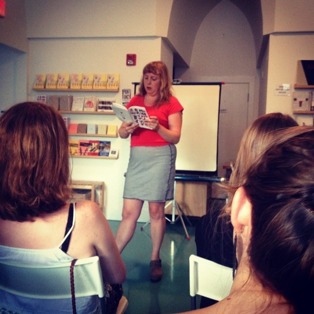 Here I am reading from my new zine (!) at Reading Frenzy last Wednesday. I was part of a group of zinesters and small press folks who were invited to present their projects. It was so much fun! Thanks Chloe!