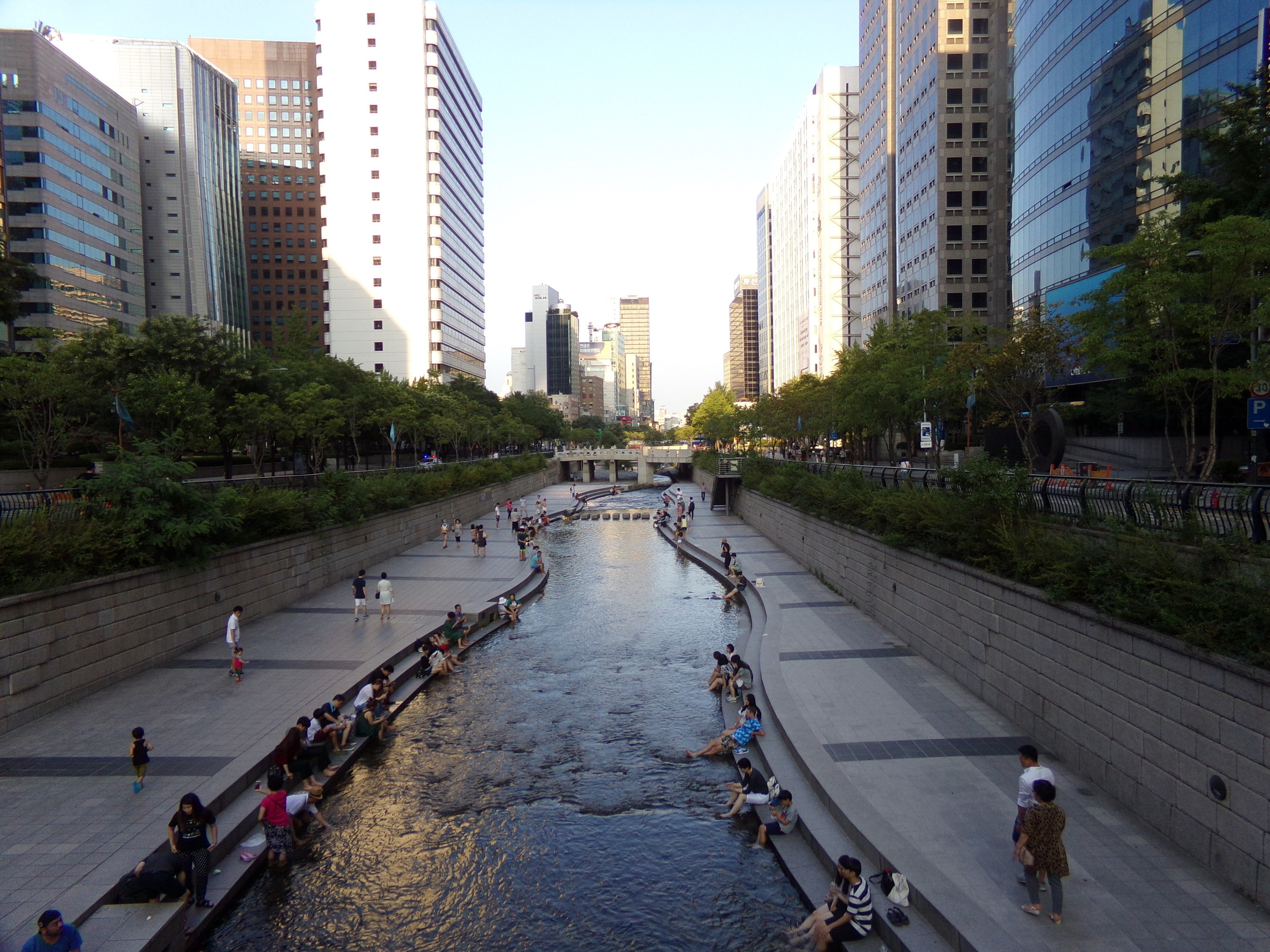 Cheonggye stream which runs through the main downtown area of Seoul. A narrow line of peace and nature in the center of the city's concrete jungle.