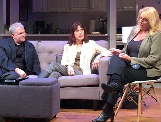 Dr. Stephen Snyder, Gracie Landes (center) and entertainment reporter Robin Milling at a talkback with the audience following a performance of the off-Broadway hit  STRAIGHT The Play