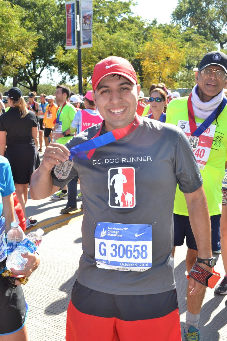 Bryan | Dog Runner | Founder   4-Time Marathon Finisher  University of Dallas - Biology  Bryan has run with over 125+ dogs since launching this company with no signs of slowing down. He spends nights and weekends with his wife Suzanne and their five children. For spring 2019 he is training for the Cherry Blossom 10-Miler. From Texas originally, he's happily made DC his home since 2013. The only thing he likes more than dogs and running are tortillas.