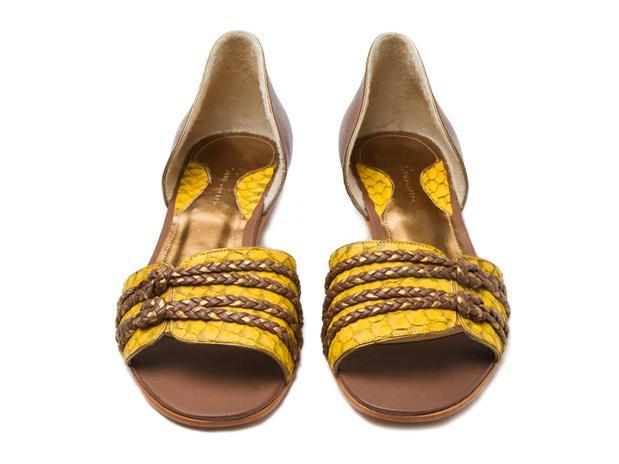 sandália com tilápia amarelo ouro | Luiza Perea