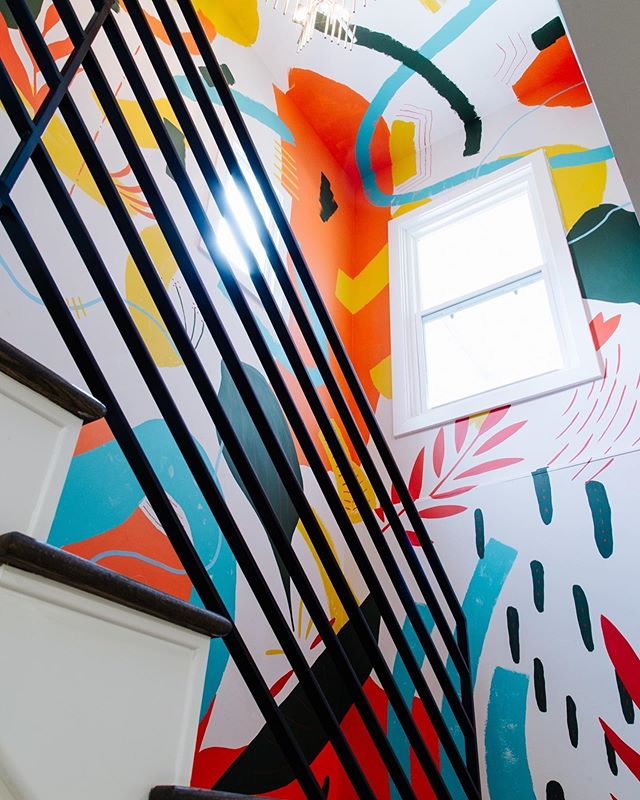 Finally was able to capture the finished product of a recent project a couple weeks ago. I painted a little something inside @andrewmorgans & @brian.glasser's stairway in their house. I'm working on documenting my work better. #muralsbylance