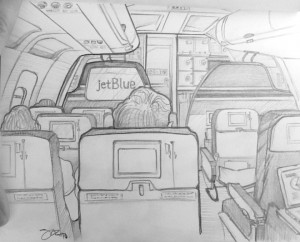 My illustration of the plane ride that took me to Orlando.