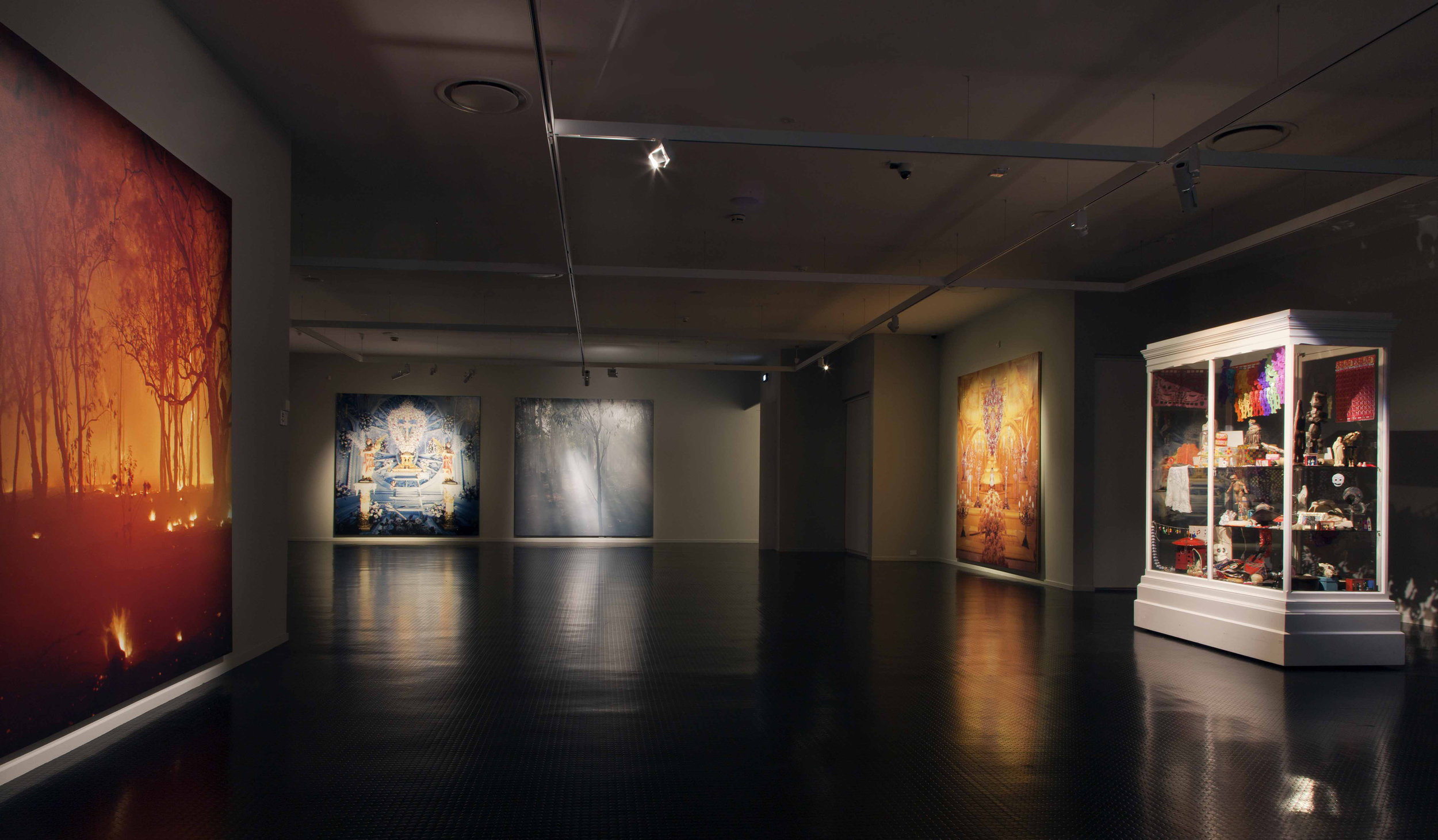 Culture, Spirit and Identity  , 8 photographic works 3x 3meters each, 2 display cabinets showing religious items; installation view, Warrnambool Art Gallery/Australia 2016
