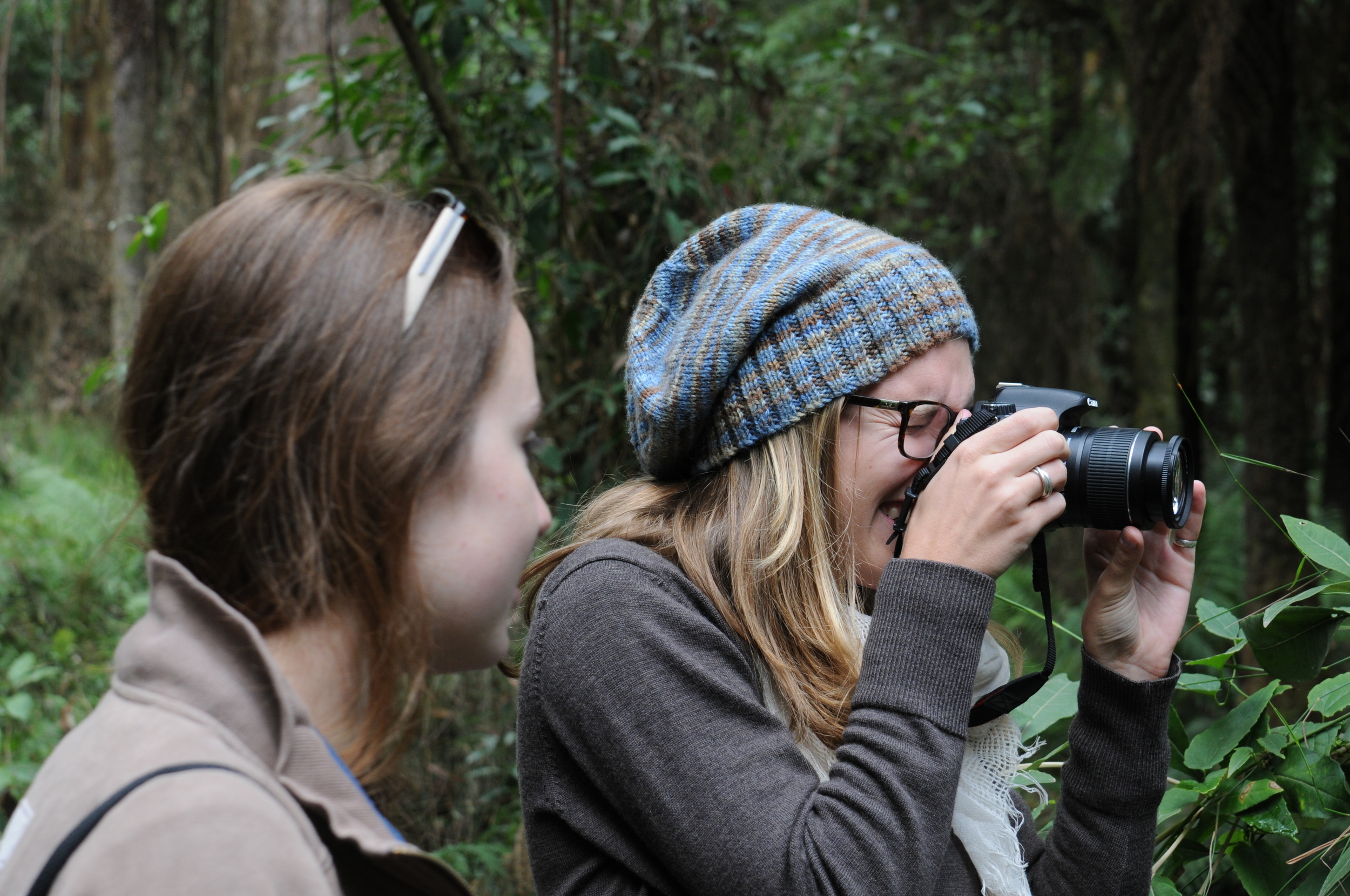 Emma Walsh and Rachel Fetherston take in the serene temperate forest.